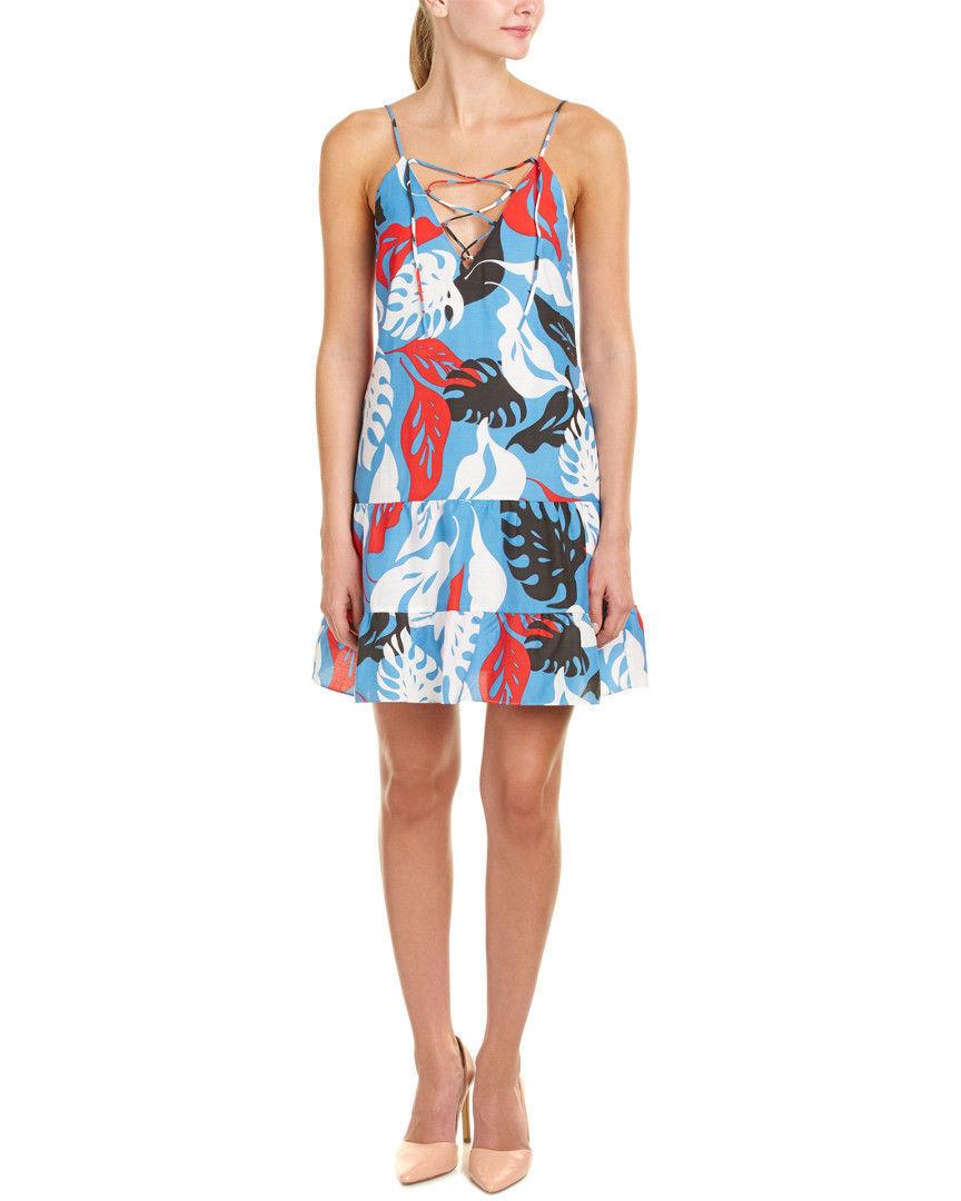 NWT N   Nicholas Tropical Print Lace-Up Cotton Dress US 0 2