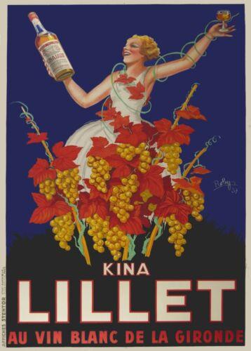 250gsm A3 Art Deco Poster France KINA LILLET AU VIN BLANC 1937