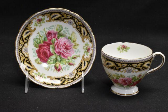 Foley Florence 3085 Black Gold Pink Roses Cup & Saucer