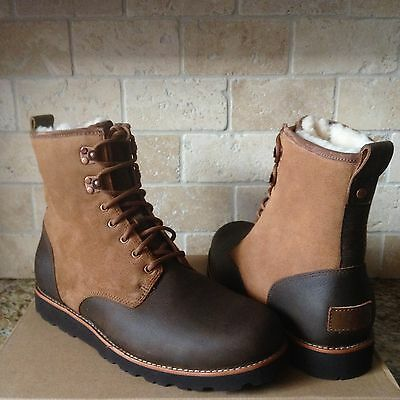 f0a4c20770c UGG HANNEN TL CHESTNUT WATERPROOF LEATHER SHEEPSKIN SHOES BOOTS SIZE US 9  MENS | eBay