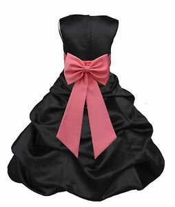 568a55e9f906 BLACK PICK-UP FLOWER GIRL FORMAL DRESS PAGEANT WEDDING BRIDESMAID ...