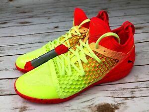 Puma-Men-039-s-365-IGNITE-NETFIT-CT-Indoor-Soccer-Shoes-Neon-Yellow-Red-104704-01