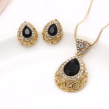 Turkish Necklace Earrings Black Gemstone Jewelry Set Gold Plated Waterdrop Boho