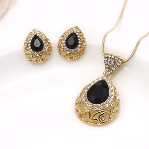 Turkish-Necklace-Earrings-Black-Gemstone-Jewelry-Set-Gold-Plated-Waterdrop-Boho