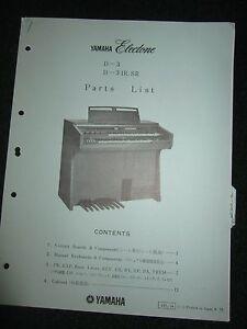 Yamaha Electone D-3 D-3IR.SR Part List Catalog Manual D3 D3IRSR 1975 Parts