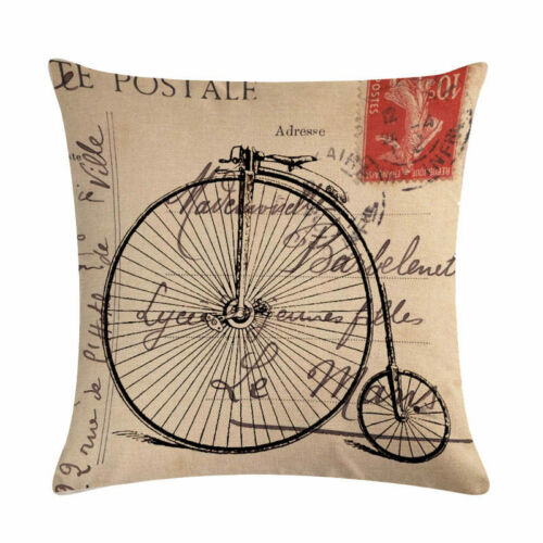 Vintage Bicycle Pillow Case Cotton Linen Throw Waist Cushion Cover Home Decor
