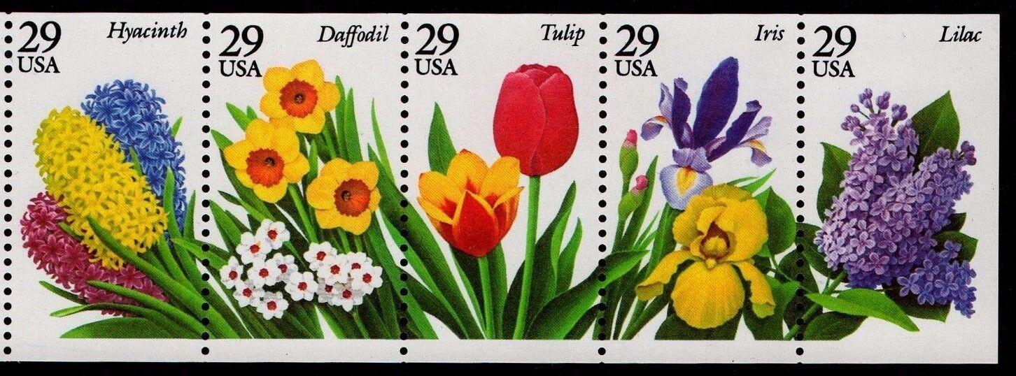 1993 29c Spring Garden Flowers, Booklet Pane of 5 Scott