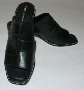 "Women's Donald Pliner SZ10M Black Leather Block 2.5"" Heel Amalia Slide Sandals"