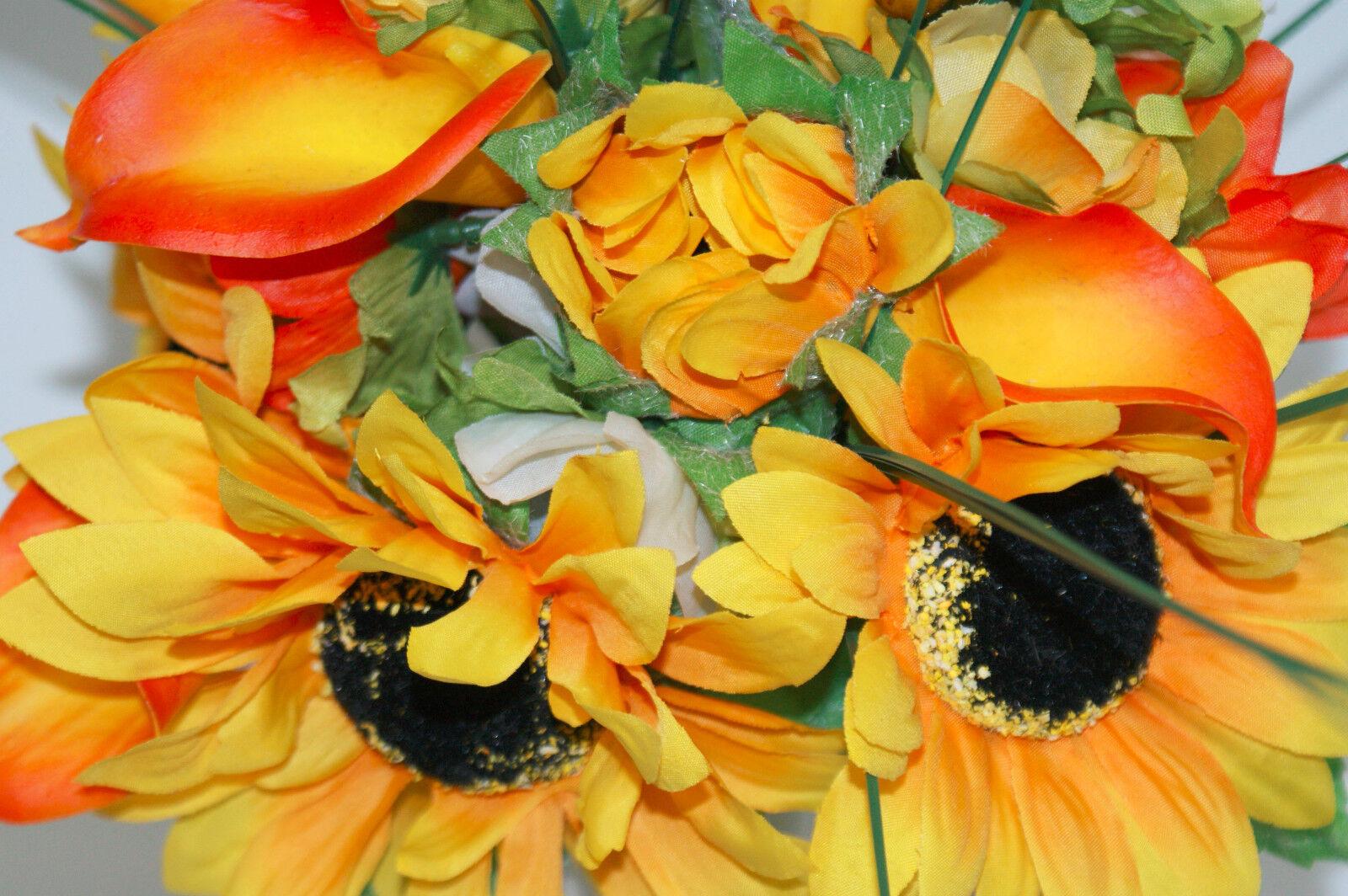 GRANDE BROCCA BROCCA BROCCA IN CERAMICA CON giallo girasoli, gigli e bacche c2ea7d