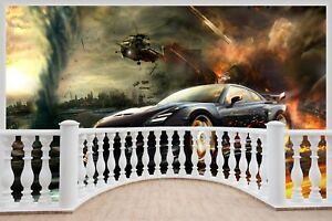 Huge-3D-Balcony-fits-Nissan-Gtr-Race-Helicopter-Wall-Stickers-Mural-827