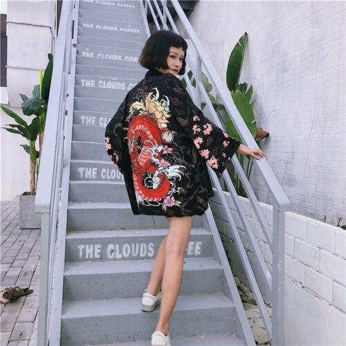 Lady Japanese Kimono Coat Loose Yukata Outwear Top Retro Fancy Dress Dragon Soft