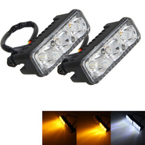 2pcs-6-LED-Auto-Weiss-DRL-Tagfahrlicht-Lampe-amp-Amber-Blinker-Lampen-Universal-12V