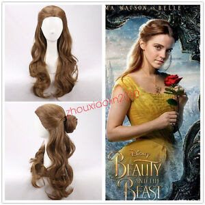 NEW-2017-MOVIE-Beauty-and-the-Beast-Princess-Belle-long-wavy-brown-Cosplay-Wigs