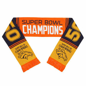 "Denver Broncos Football Super Bowl 50 Champions Logo NFL 60"" Acrylic Woven Scarf 889345381438"