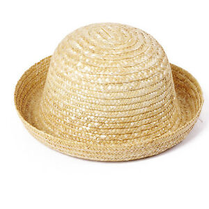 58eb7c0b47c99 Details about Womens Child Natual Handmade Straw Hat Panama Flat Top Wave  Brim Roll Brim T249