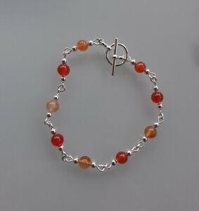 Carnelian Silver Plated Bracelet. Chakra Crystal Reiki Gemstone Healing
