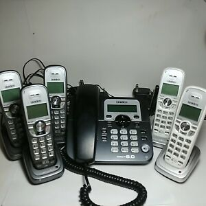 Uniden-DECT1588-5T-DECT6-0-Corded-Cordless-Phone-Answering-System-w-5-Handset