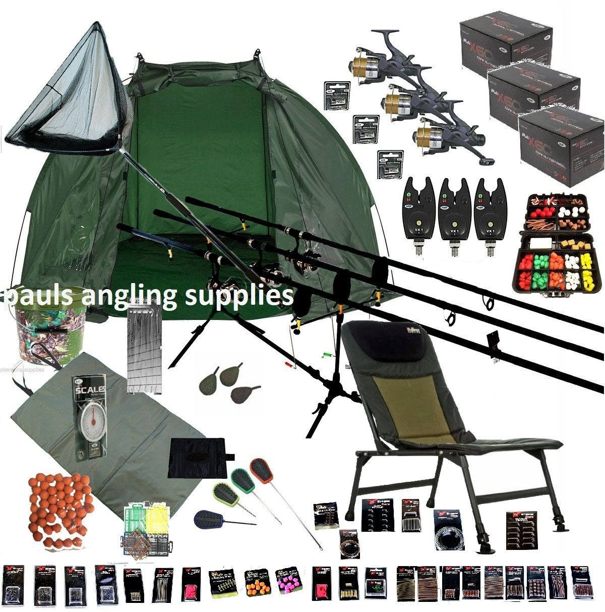 3 Rod Mega Autop Fishing Set up Kit Rods Reels Chair GIANT TACKLE PACK Net PC23