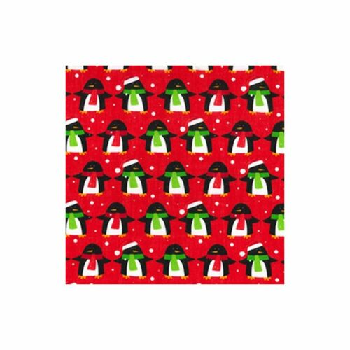 Red Penguin Christmas Polycotton 112cm Wide Sold @ £2.64 per mtr