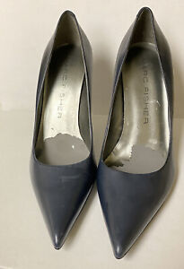 Marc Fisher Womens Blue Pointed Toe Leather Pumps Heels Size 7M