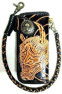 Leather-biker-trucker-motorcycle-Chain-Wallet-hand-Tooled-skull-Demon-horns