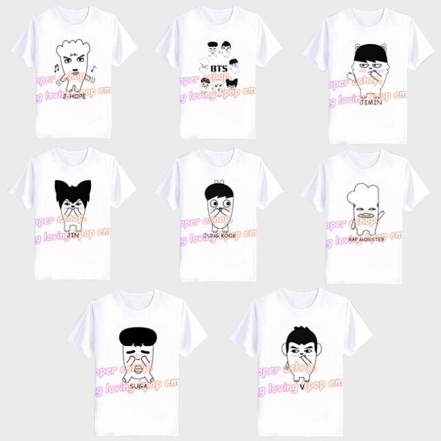 KPOP BTS T-shirt Bangtan Boys Offical Cartoon Tee Rap Monster Suga V Jin Tshirt