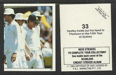 # 33 Relieving Rheumatism And Cold Jeff Thomson aust Australia 1983 Scanlens Cricket Stickers Series 2