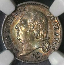 1823-A NGC AU 58 FRANCE 1/4 Franc 44K Made POP 1/2 Louis XVIII Coin (16102511C)