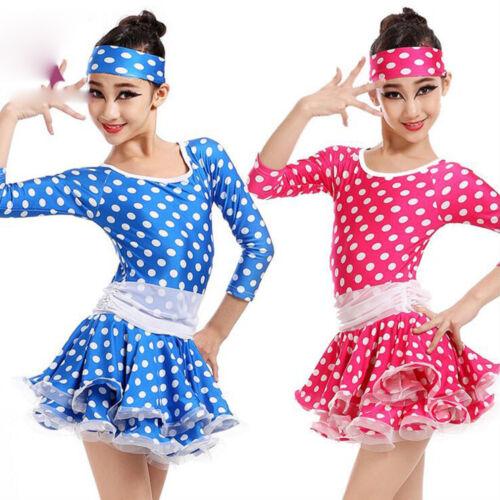 Girls Dots Print Latin Ballroom Dancing Dress Kids Stage show Dancewear Costumes