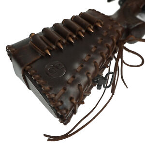 Leather-Rifle-Buttstock-Ammo-Holder-with-Cheek-Rest-Pad-Cartridge-Shell-Holder