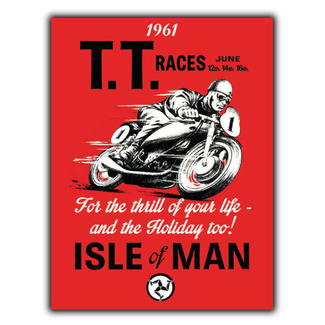 ISLE-OF-MAN-TT-Races metal wall home decor sign plaque garage workshop man cave