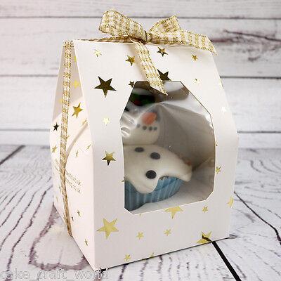 White Single Gable Economy Window Cupcake Box With Gold Stars & Insert