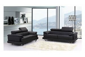 Image Is Loading COSMO BLACK BONDED LEATHER 3 2 SEATER LEATHER