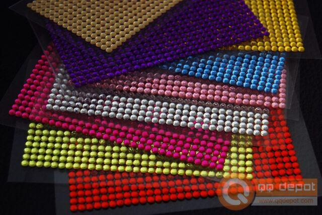 3x Universal Self-Adhesive 4mm DIY Rhinestone Crystal Bling Sticker 16 Colors US