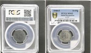 Allied Occupation 10 Pfennig 1948 F Mint State PCGS MS63