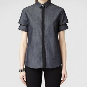All-Saints-Damen-Terente-Indigo-Denim-Chambray-Shirt-Chiffon-Trim-UK-10-BNWOT