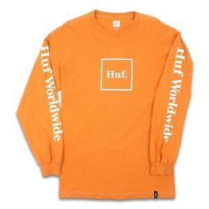HUF-Mens-Domestic-Box-L-S-Shirt-Rusty-Orange-M-New