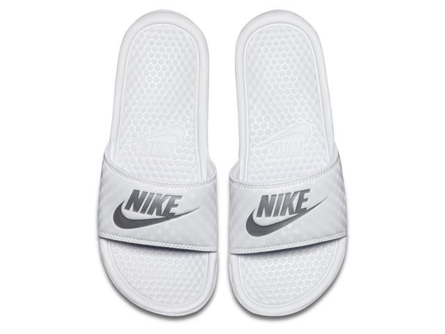 2218fdcaf WMNS Nike Benassi JDI Just Do It White Silver Womens Slides Sandals ...
