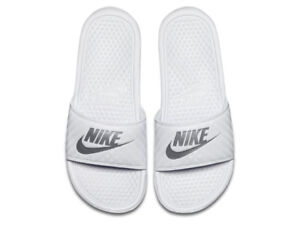 3a59a3abb02af9 Nike Womens Benassi JDI Sliders Slip On Slides Pool Sandals White ...