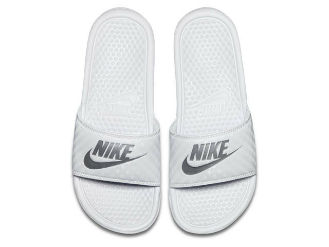 fd0340c4f259 WMNS Nike Benassi JDI Just Do It White Silver Womens Slides Sandals ...