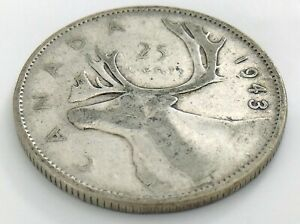 1943-Canada-Twenty-Five-25-Cent-Quarter-Circulated-Canadian-George-VI-Coin-J544