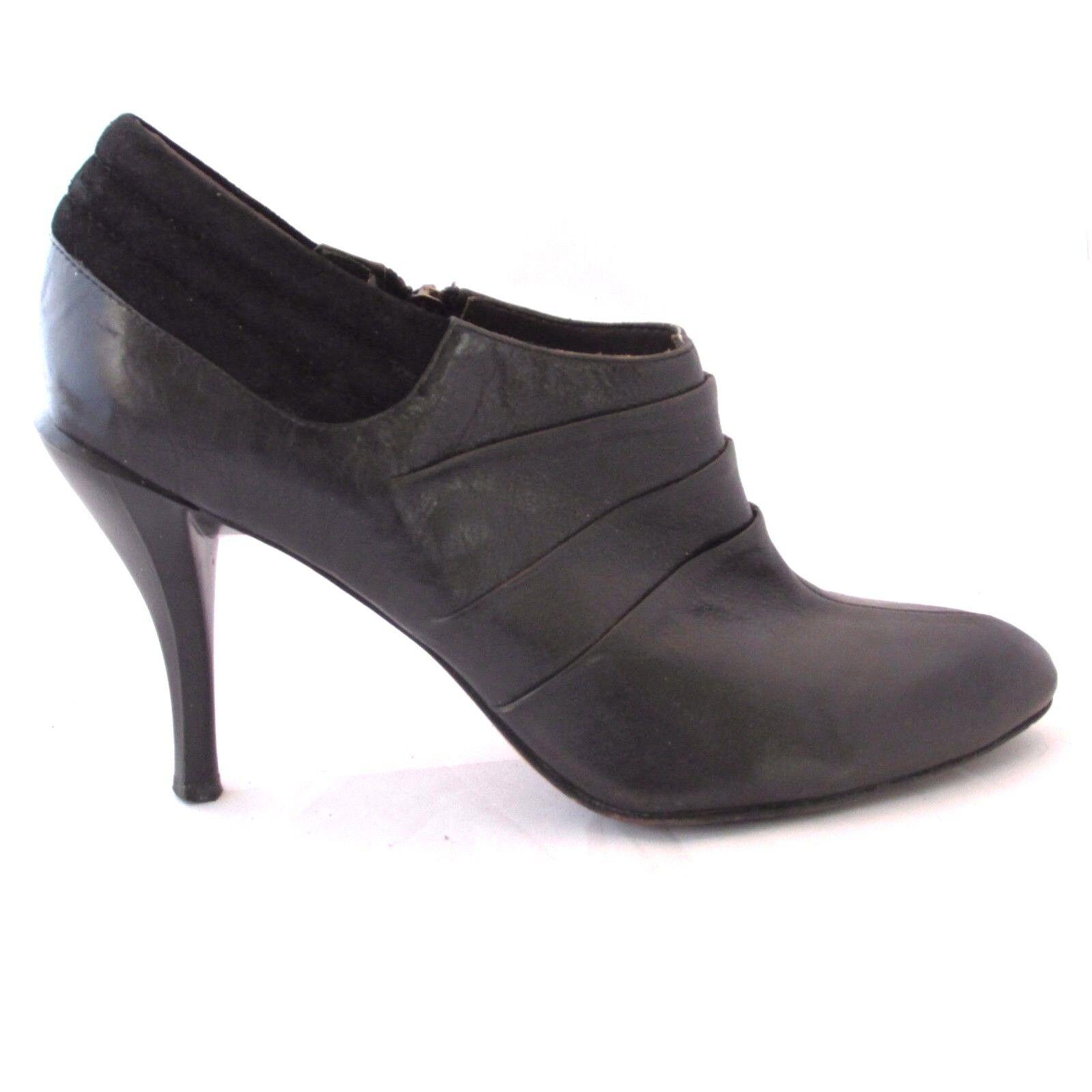 Vero Cuoio Black High Heel Heel Heel shoes Boot Side Zipper 'Modern Vintage' Size 8 Eu 38.5 ca6daf