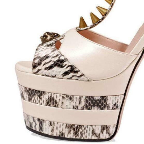 Sexy Womens Platform Stiletto Heel Slingback Leather Open Open Open Toe Spike Party shoes d214cb