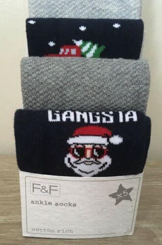 F/&F BOYS PACK OF 5 CHRISTMAS XMAS SOCKS SIZE 9-12 BNWT NEW GIFT PRESENT 3-6 YRS