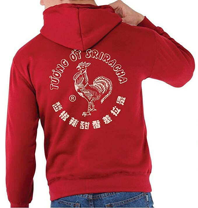 b6a0608b6 Sauce Label Red Zip-up Hooded Sweatshirt (Size XXL) Sriracha Men s ...