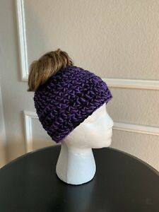 5c781a40 Details about Hand Crochet Women's Baltimore Ravens Inspired Messy Bun  Beanie Ponytail Hat