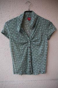Gruenliche-Bluse-mit-Bluemchenmuster-von-Esprit-Groesse-M