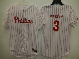 timeless design a82c9 7e1bd Details about 9304-3 BOYS Philadelphia Phillies BRYCE HARPER Baseball  Jersey White Pin Strip