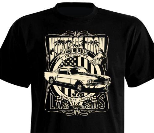 T-Shirt Oldschool Mustang GT 1967 302 351 429 cui Super Cobra Jet Ford