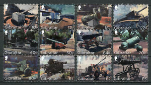 Gibraltar-2018-MNH-Cannons-Howitzer-Pounder-Cannon-12v-Set-Military-War-Stamps